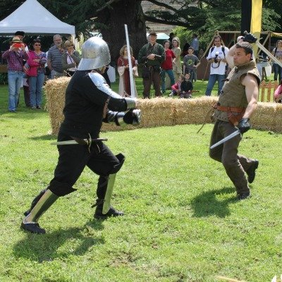 Deux chevaliers combattent à l'épée